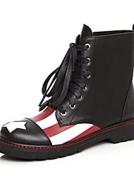 Zapatos de mujer - Tacón Bajo - Botas Anfibias / Punta Redonda - Botas - Vestido / Casual - Cuero - Negro
