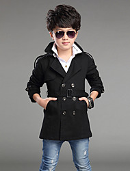 Boy's Cotton/Polyester  Winter / Spring / Fall Long Sleeve Trench Coat