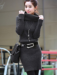Women's Korea Style Simple Elegant High Collar Long Sleeve Solid Knit Dress