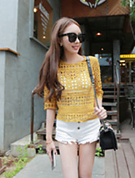 Women's Solid Yellow Blouse , Round Neck ½ Length Sleeve