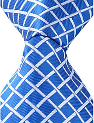 Grid Pattern Blue Necktie Men Business Leisure Tie Jacquard