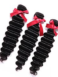 Evet необработанный Малайзии человеческие волосы ткет Связки глубокая волна Малайзии выдвижения человеческих волос 3шт натуральный черный