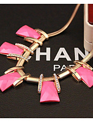 Women's fashion trend geometry Necklace trapezoid square short necklace