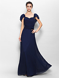 Floor-length Chiffon Bridesmaid Dress Sheath / Column Sweetheart with Flower(s) / Ruching