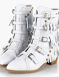Zapatos de mujer - Tacón Bajo - Puntiagudos / Botas a la Moda - Botas - Vestido / Casual - Cuero - Negro / Blanco