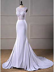 Trumpet / Mermaid Wedding Dress - Elegant & Luxurious See-Through Wedding Dresses Court Train Jewel Tulle / Stretch Satin with Appliques