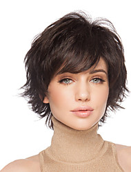 Fluffy Short Wavy Hand Tied Top Human Virgin Remy Capless Woman's Hair Wig