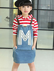 Girl's Black / Red Clothing Set , Stripes Cotton Spring / Fall
