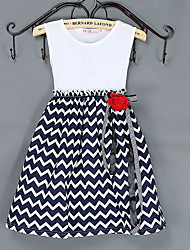 Girl's Blue / Red Dress,Stripes Spandex Summer