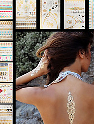 10PCS Necklace Hands Waterproof Women Gold Colorful Jewel Sexy Temporary Tattoo Stickers Braclet Chain Elephant