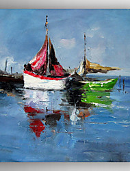 Hand Painted Abstract Boat Oil Painting with Stretched Framed Ready to Hang