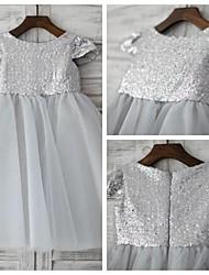 A-line Knee-length Flower Girl Dress - Tulle / Sequined Short Sleeve