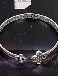 mode eenvoudige gladde opening duizend mooie zilveren armband S999 klaver