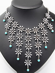 Antique Flower Turquoise Beads Statement Necklace