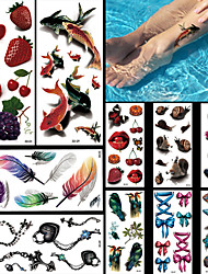 10pcs Fish Feathers Turtle Birds Fruit Bows Halloween Body Art Temporary Tattoos Flash Sticker Waterproof Fashion