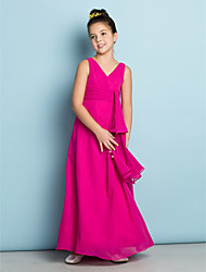 Lanting Bride® Ankle-length Chiffon Junior Bridesmaid Dress - Mini Me A-line V-neck with