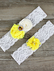 2pcs/set Yellow And White Milk Satin Lace Chiffon Beading Wedding Garter