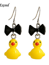 D Exceed Resin Little Animal Yellow Duck Earrings Cute Earrings for Girls Huang Ya Black Bowtie Hot Selling Jewelry