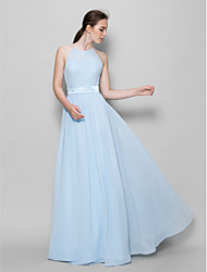 Lanting Bride Floor-length Chiffon Bridesmaid Dress A-line Halter with