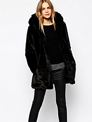 Women Faux Fur Top , Belt Not Included Fur Coat Winter Overcoat