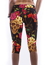 Women's Multicolor Flowers Skull Print Stretch Yoga Pants