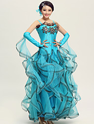 Ballroom Dance Outfits Women's Performance Spandex / Crepe/Rhinestones / Paillettes / Ruched Dress&Hand act&Head flower