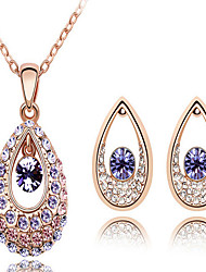 May Polly  Angel tears full diamond crystal fashion necklace earrings set