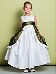 Lanting Bride A-line Ankle-length Flower Girl Dress - Taffeta Sleeveless Jewel with Beading