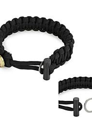 Outdoor Survival Emergency Parachute Rope Bracelet with Flintstone Fire Starter / Scraper - (Black / Army Green / Khaki)