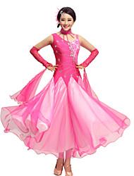 Dames - Moderne Dans / Uitvoering / Ballroomdansen - Outfits ( Fuchsia / Rood / Royal Blue , elastan / Crepe / Kant ,Appliques /