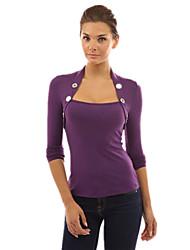 T-Shirt Da donna Bottone Asimmetrico Manica lunga Cotone