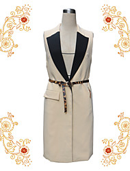 Women's Solid Beige Vest , Notch Lapel Sleeveless