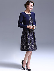 A-line Mother of the Bride Dress - Knee-length Long Sleeve Polyester