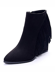 Women's Shoes Leather Flat Heel/ Western Boots / Riding Boots / Fashion Boots / Bootie / Combat Boots/Suede Tassel Boots
