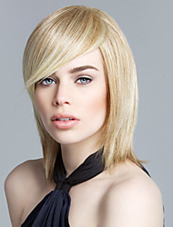 New Glamourous Medium Straight Human Virgin Remy Hand Tied Top Woman's Capless Wig
