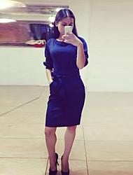 De las mujeres Recto Vestido Tallas Grandes Un Color Hasta la Rodilla Escote Redondo Algodón