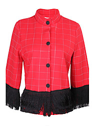 Women's Solid Color Red Coats & Jackets , Casual Stand Long Sleeve