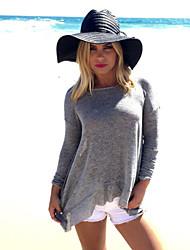 Diepe V-hals - Polyester / Katoenmixen - Blote rug - Vrouwen - T-shirt - Lange mouw