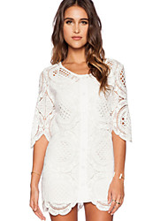Women's Sexy Solid Loose Dress , Round Neck Above Knee Lace