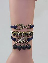 Pulseras Mujer Black Lava Stone Skull Multilayer Leather Bracelet