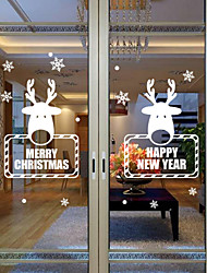 Window Stickers Window Decals Style New Christmas Snowflake Deer Window Glass Decoration PVC Window stickers