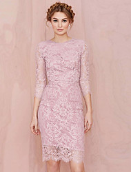 Women's Lace Purple Dresses , Party / Work Round Long Sleeve