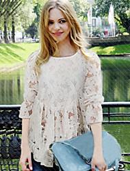 Women's Lace White / Black Blouse (cotton)