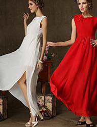 Women's Solid Color Red / White Dresses , Vintage Round Sleeveless
