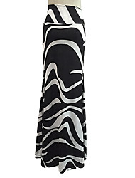 Women's Print / Striped Black Skirts , Bodycon / Beach / Casual / Party / Maxi Maxi