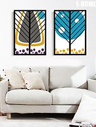 Floral/Botânico / Fantasia Quadros Emoldurados / Conjunto Emoldurado Wall Art,PVC Preto Sem Cartolina de Passepartout com frame Wall Art
