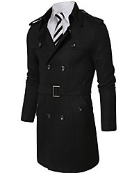 Men's Solid Casual / Work Trench coat,Wool Blend Long Sleeve-Black / Gray