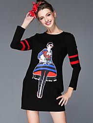 Women's Autumn Winter Fashion Vintage Bead Sequins Patchwork Print Loose Long Sleeve Dress