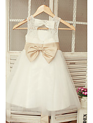 A-line Ankle-length Flower Girl Dress - Lace Tulle Jewel with Bow(s) Sash / Ribbon Pleats