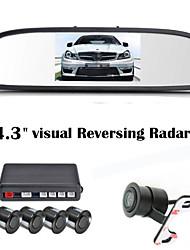 RenEPai® 4.3 Inch 4 probe Parking Sensors LCD Display Camera Video Car Reverse Backup Radar System Kit Buzzer Alarm 12V